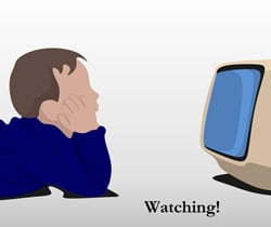 Sketch of a child watching TV