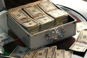 Suitcase filled with dollars