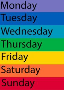 Days of the week against multiple background colours