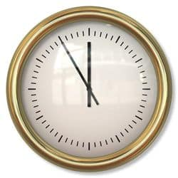 Clock at 5mins to 12