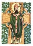 Image of St Patrick in front of a Celtic Cross.