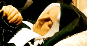 Image of St Bernadette in glass casket