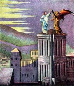 Sketch of jesus being tempted by Satan on the top of a high building