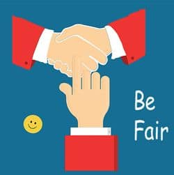 Three hands, smiley and quote: Be Fair