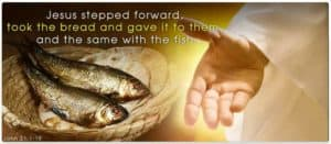 Jesus shares bread and fish