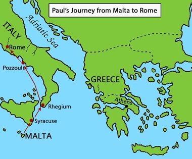 Map: Paul's Final Journey - Malta to Rome